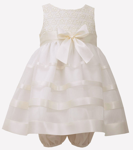 Bonnie Jean ivory ribbon party dress with panty