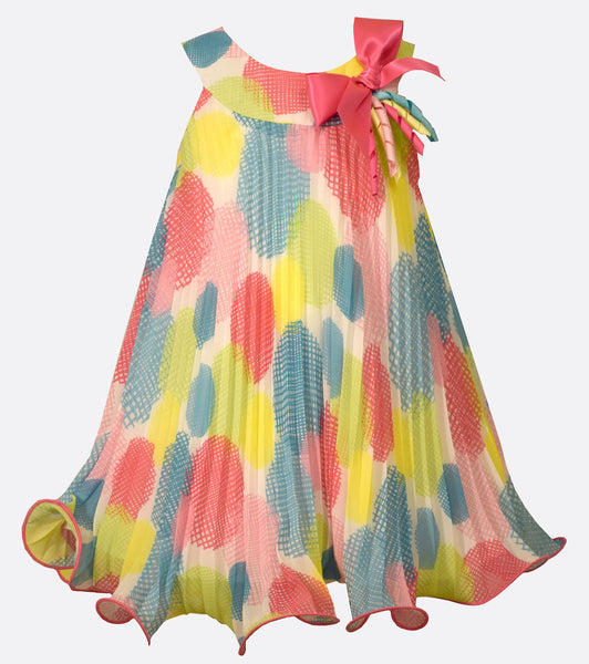 Bonnie Jean Multi Dot Pleated Trapeze Dress