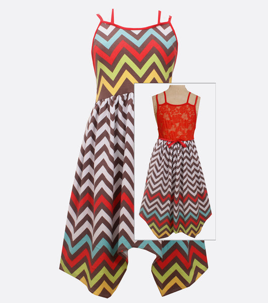 Bonnie Jean chevron hanky hem dress with lace back