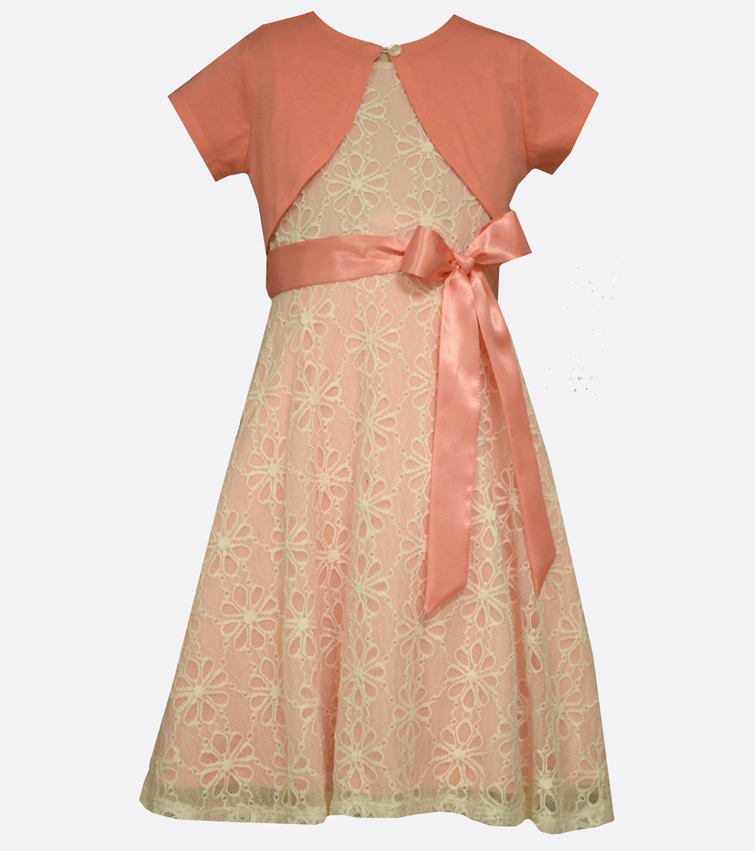 Bonnie Jean Coral Lace Dress with Cardigan