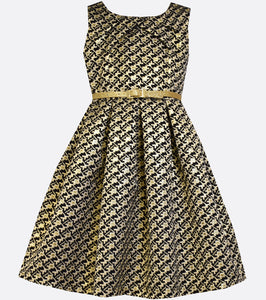 Bonnie Jean black and gold brocade pleated dress.