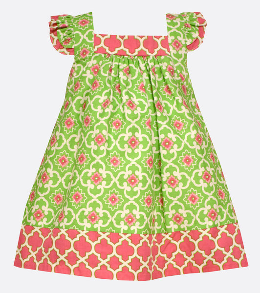 Bonnie Jean Green and Pink Tile printed Dress