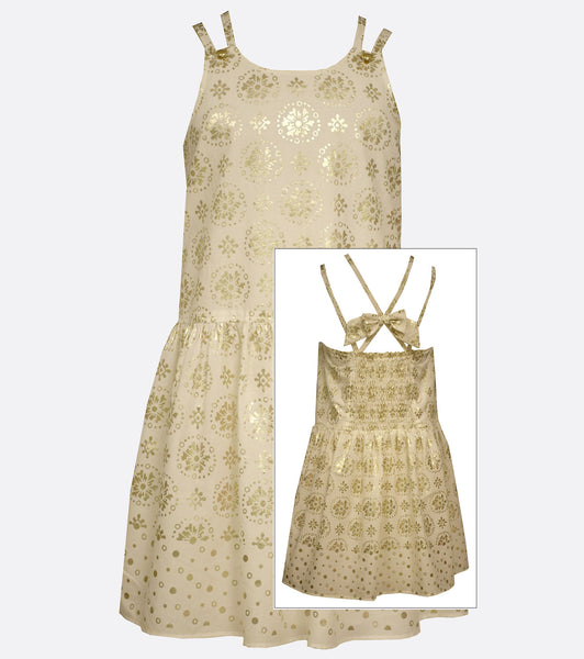 Bonnie Jean Gold Foiled Medallion Print Dress