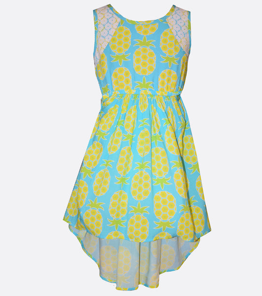 Bonnie Jean Pineapple Print Hi-Low Dress
