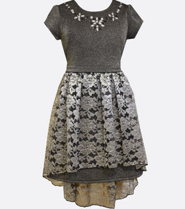 Bonnie Jean silver knit dress with a lace high to low skirt and jewel embellished neckline.