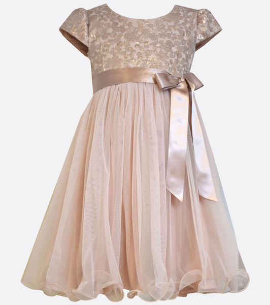 Bonnie Jean blush pink and gold embroidered lace dress with mesh skirt and satin waist bow.