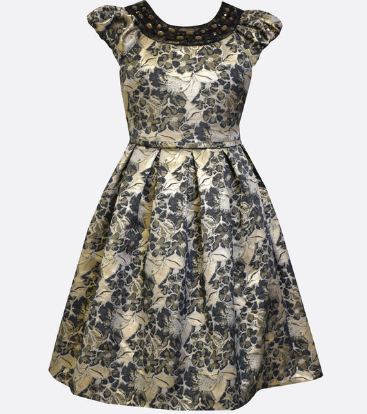 Bonnie Jean black and gold floral brocade dress with cap sleeves and a jewel embellished neckline.
