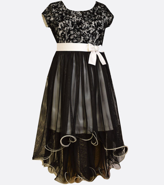 Bonnie Jean black and white high to low dress with floral lace and waist bow.
