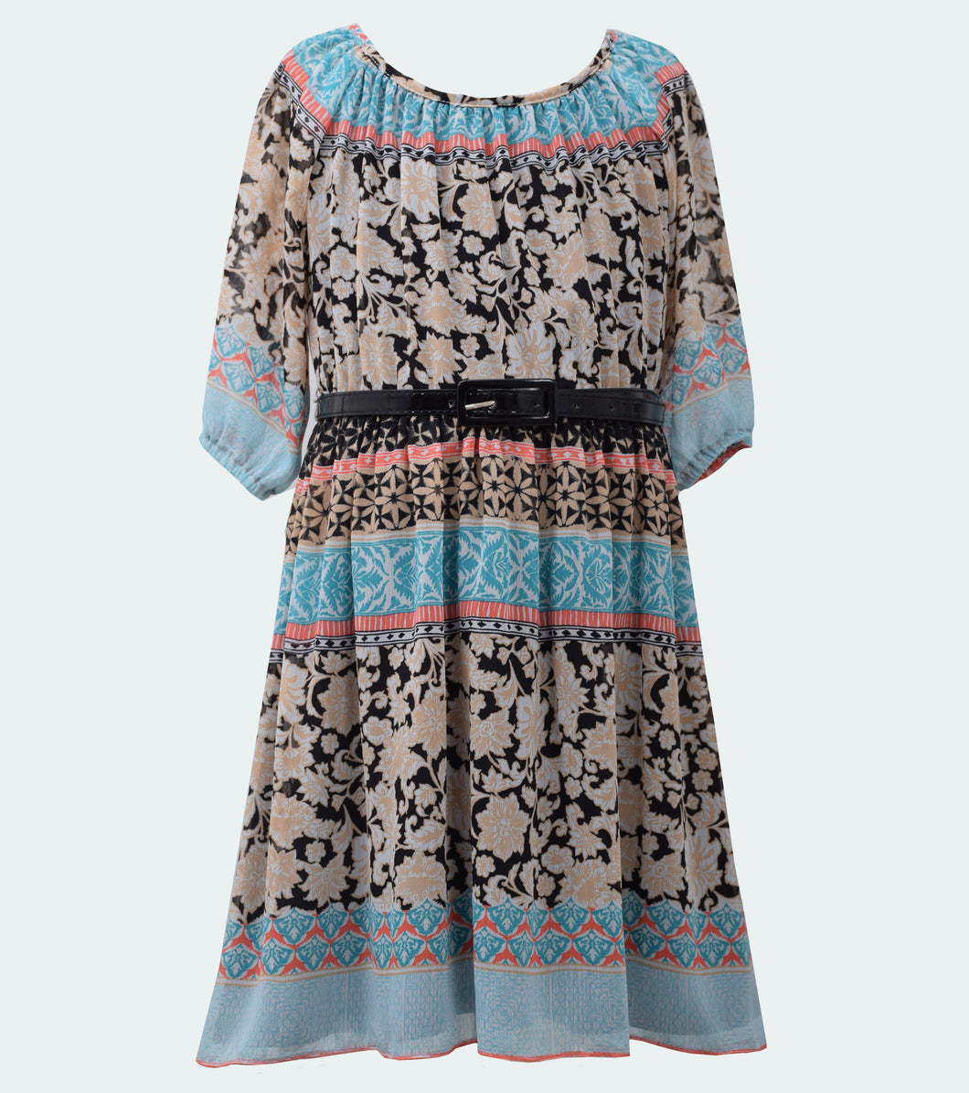 Bonnie Jean printed chiffon 3/4 sleeve dress with belt