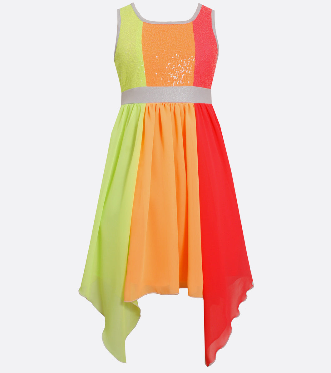 Bonnie Jean neon chiffon spangle dress