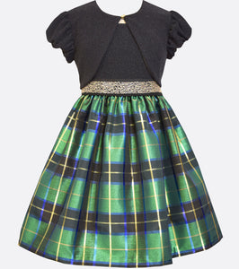 Bonnie Jean green, blue and gold taffeta plaid dress with gold accents, a metallic knit bodice and matching cardigan.