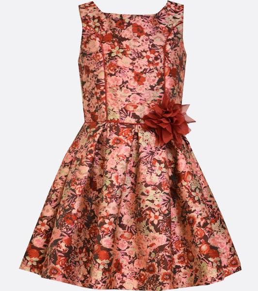 Bonnie Jean pink and red floral brocade dress with princess seams and pleated skirt.