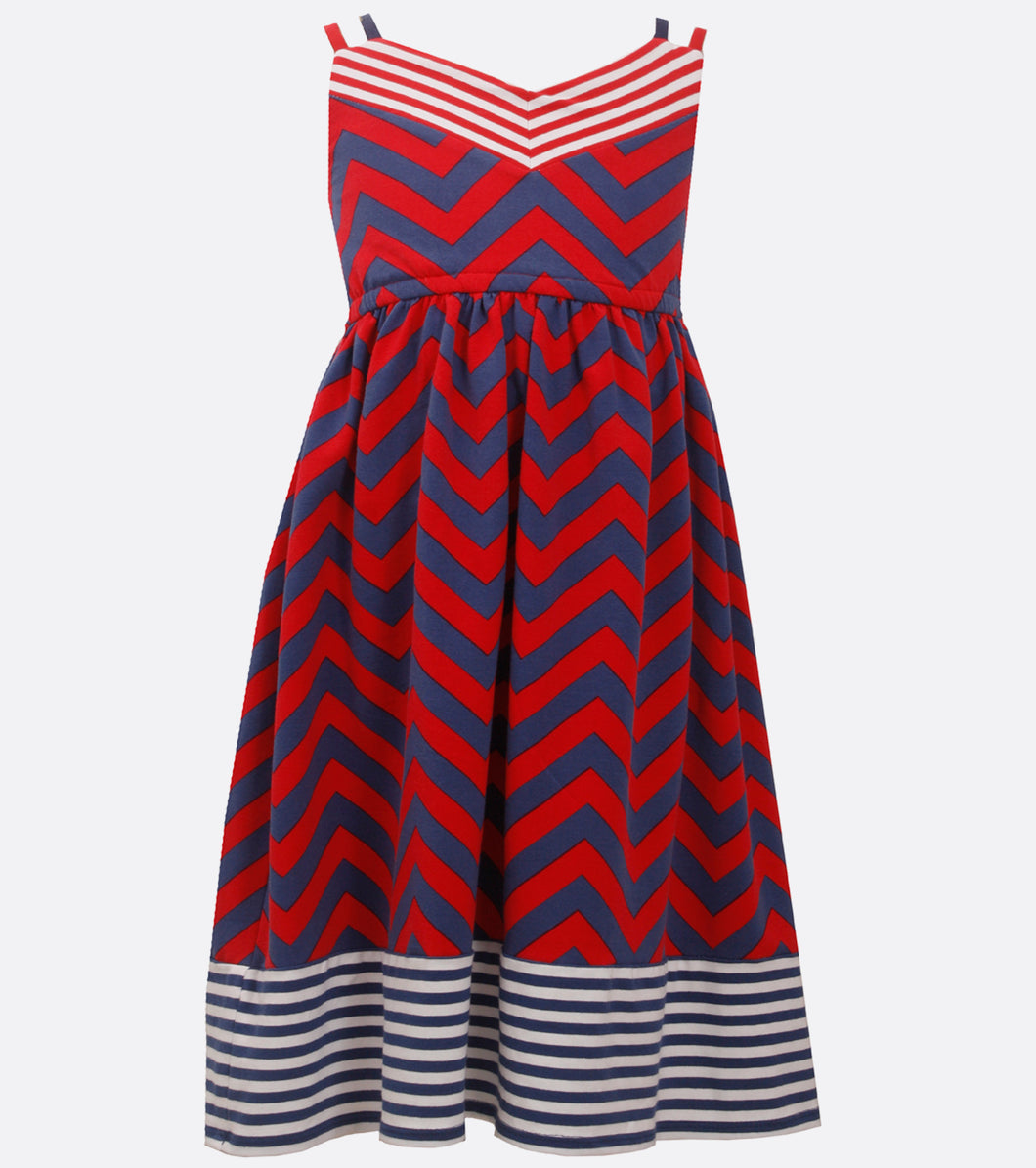 Bonnie Jean red white and blue stripe dress
