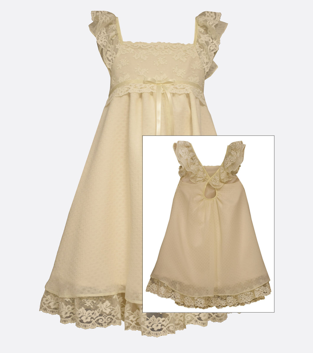 Bonnie Jean Ivory Lace Flutter Sleeve  Flower Girl Dress