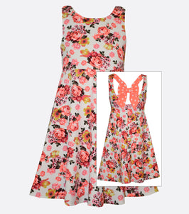 Bonnie Jean Textured Floral Print Dress with Polka Dot Bow Back
