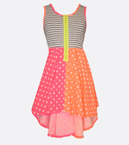 Bonnie Jean Neon Hi-low Dress with Contrast Zipper