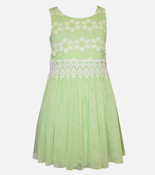 Bonnie Jean Lime green lace Popover to Mesh