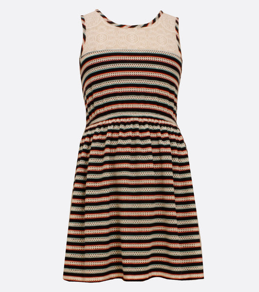 Bonnie Jean Stripe dress with lace neckline