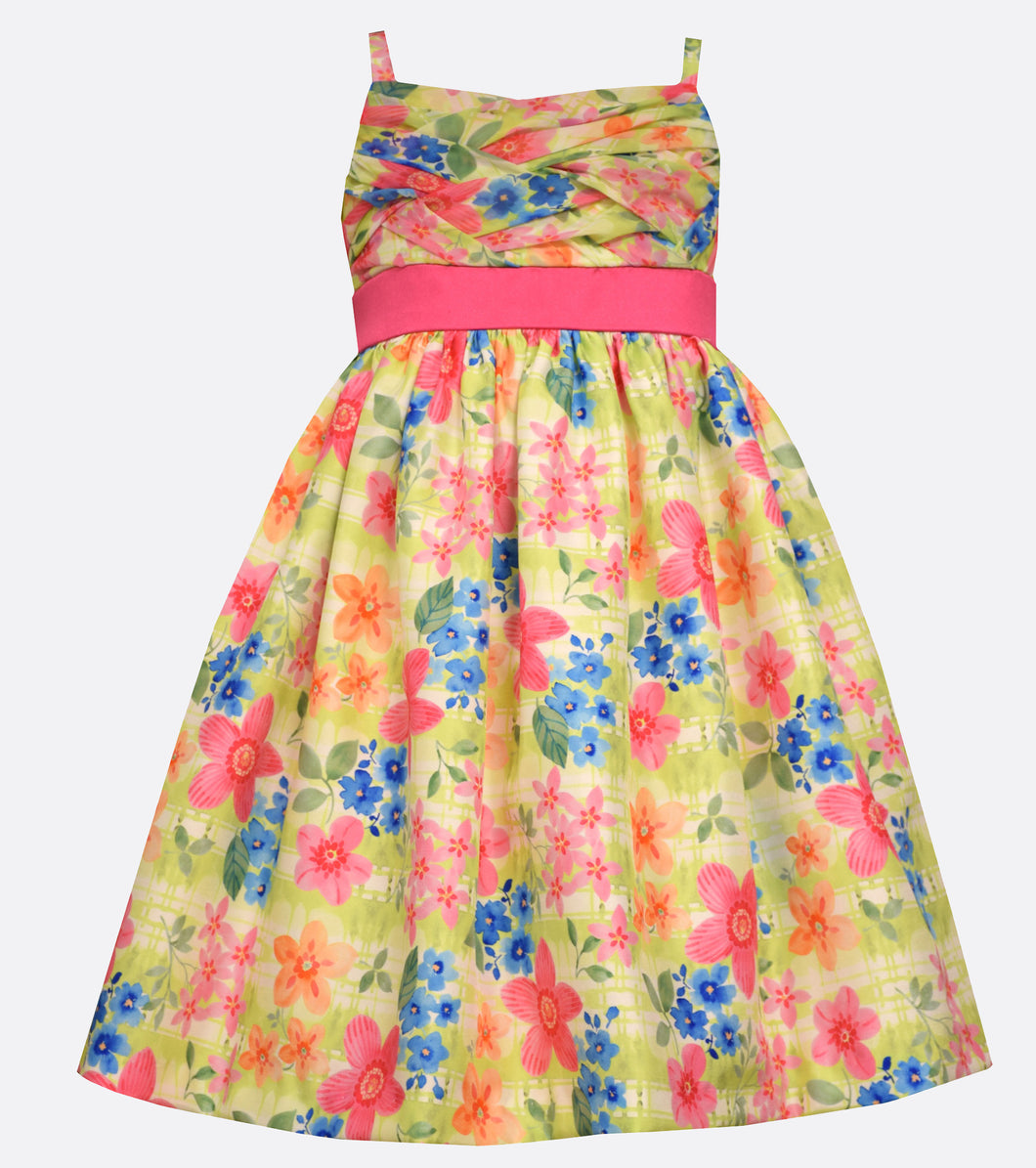 Bonnie Jean Floral Shantung Party Dress