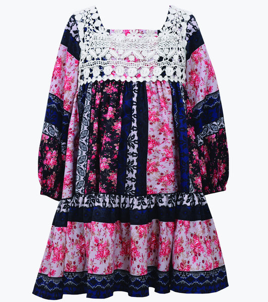 Bonnie Jean girls mixed print and lace dress