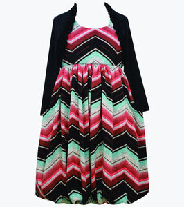 Bonnie Jean chevron bubble dress with faux cardigan