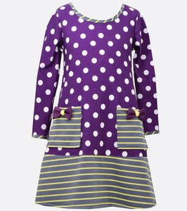Bonnie Jean dot to stripe dress