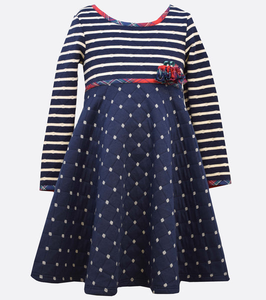 Bonnie Jean Stripe to quilted dot skirt