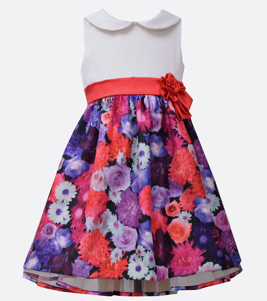 Bonnie Jean Peter Pan collar floral party dress
