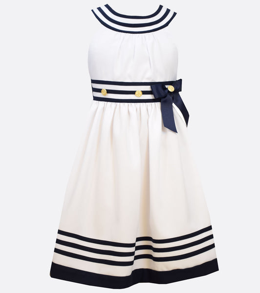 Bonnie Jean White Nautical Dress