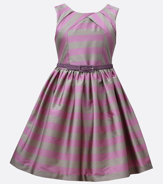 Bonnie Jean purple and silver striped party dress