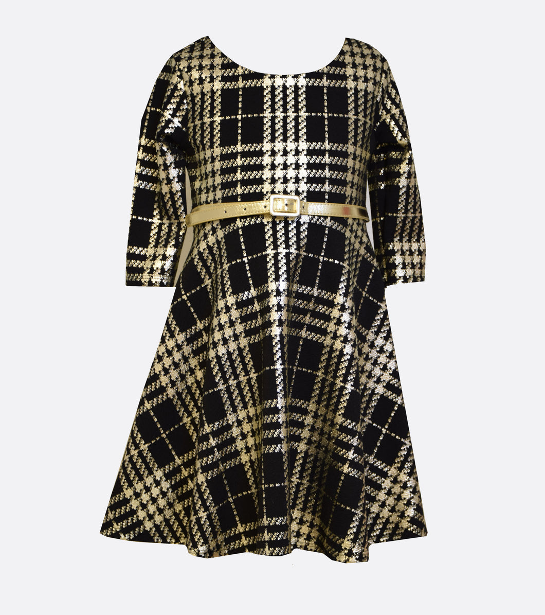 Bonnie Jean black and gold skater dress