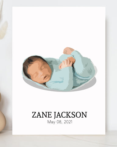 portrait of a baby wearing blue green clothes