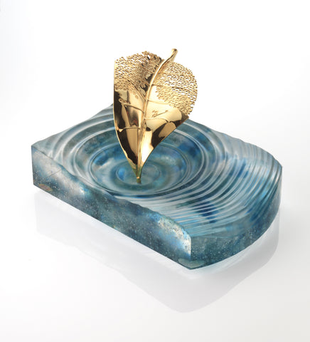 Aquamarine Fallen Leaf Centre Piece & Ashtray