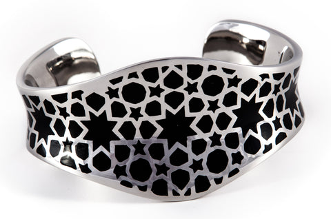 Stainless Steel & Black Pular Bangle