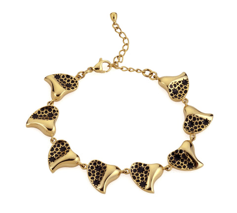 Gold & White Heart Bracelet