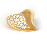 Gold & White Heart Brooch