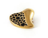 Gold & Black Heart Brooch