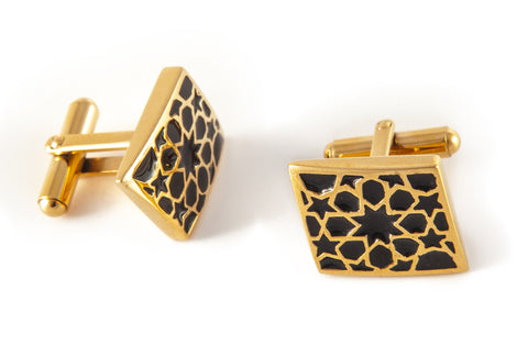 Gold & Black Rhombus Cufflinks