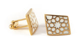 Gold & White Rhombus Cufflinks