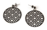 Black & Titanium Circle Earrings
