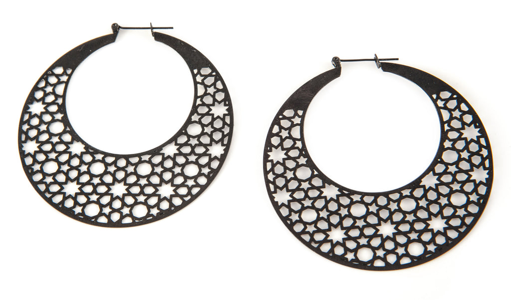 Black & Titanium Crescent Earrings