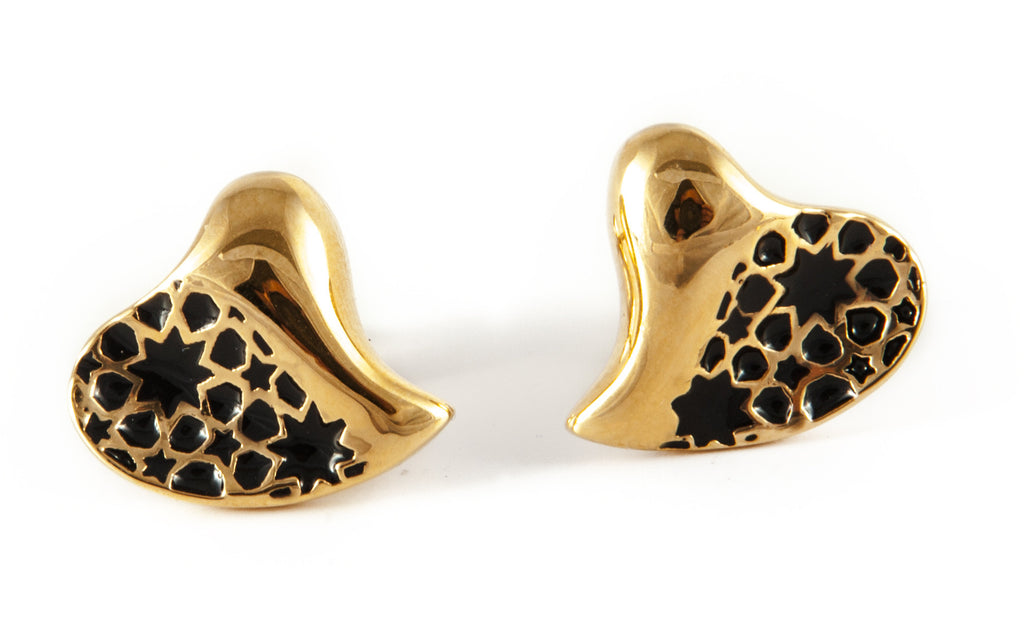 Gold & Black Heart Earrings