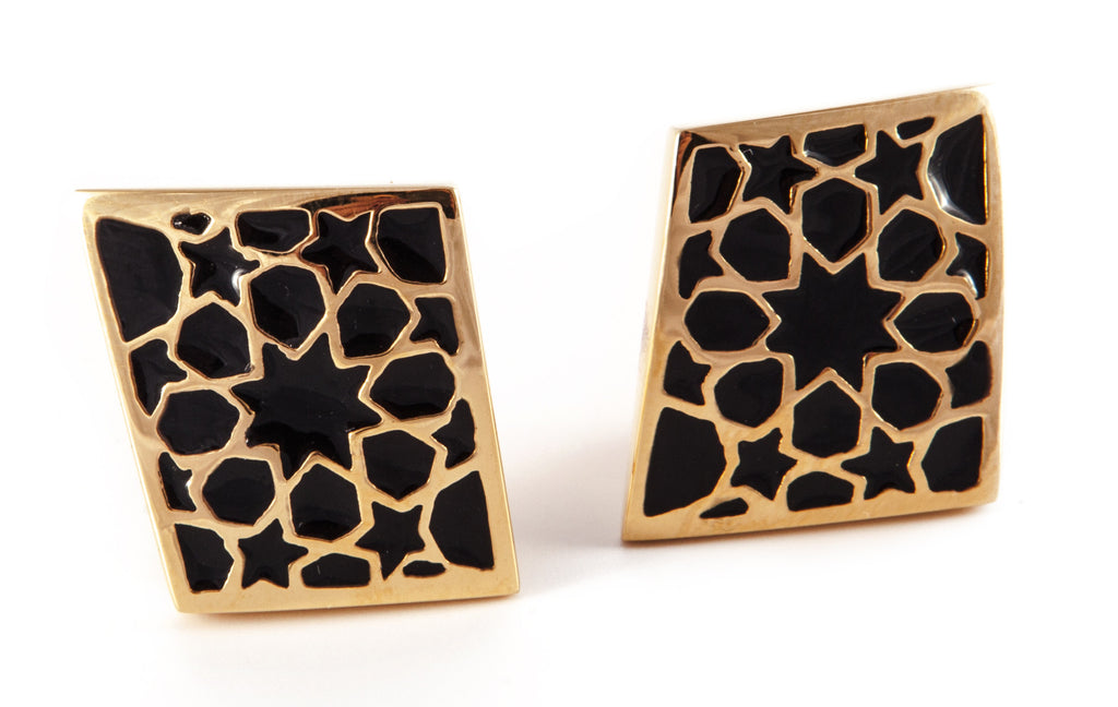 Gold & Black Rhombus Earrings