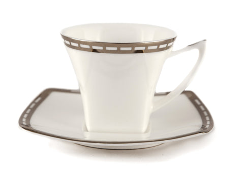 Gold Arabesque Coffee & Tea Cup With Saucer