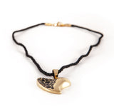 Gold & Black Heart String Pendant Necklace