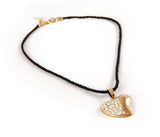Gold & White Heart String Pendant Necklace