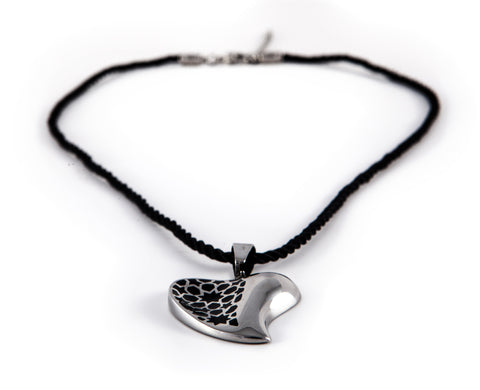Stainless Steel & Black Heart String Pendant Necklace