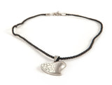 Stainless Steel & White Heart String Pendant Necklace