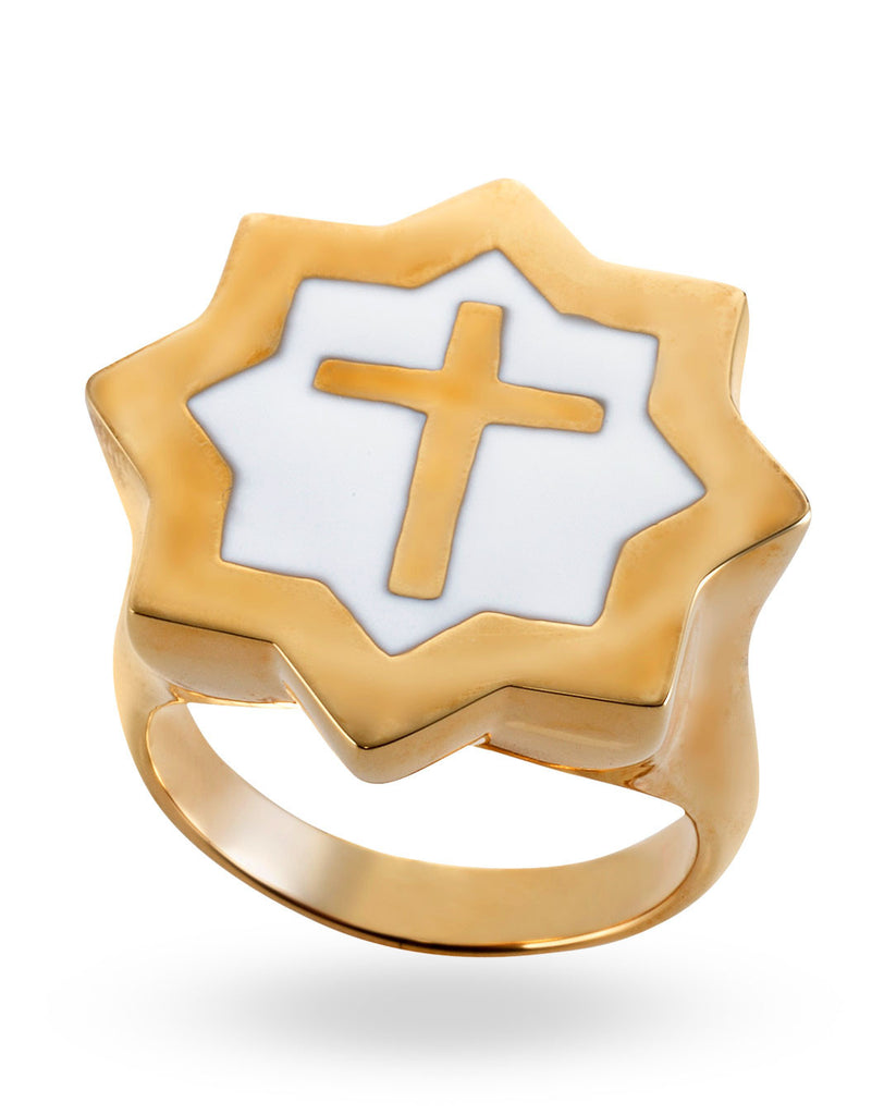 Gold & White Abraham Cross Ring