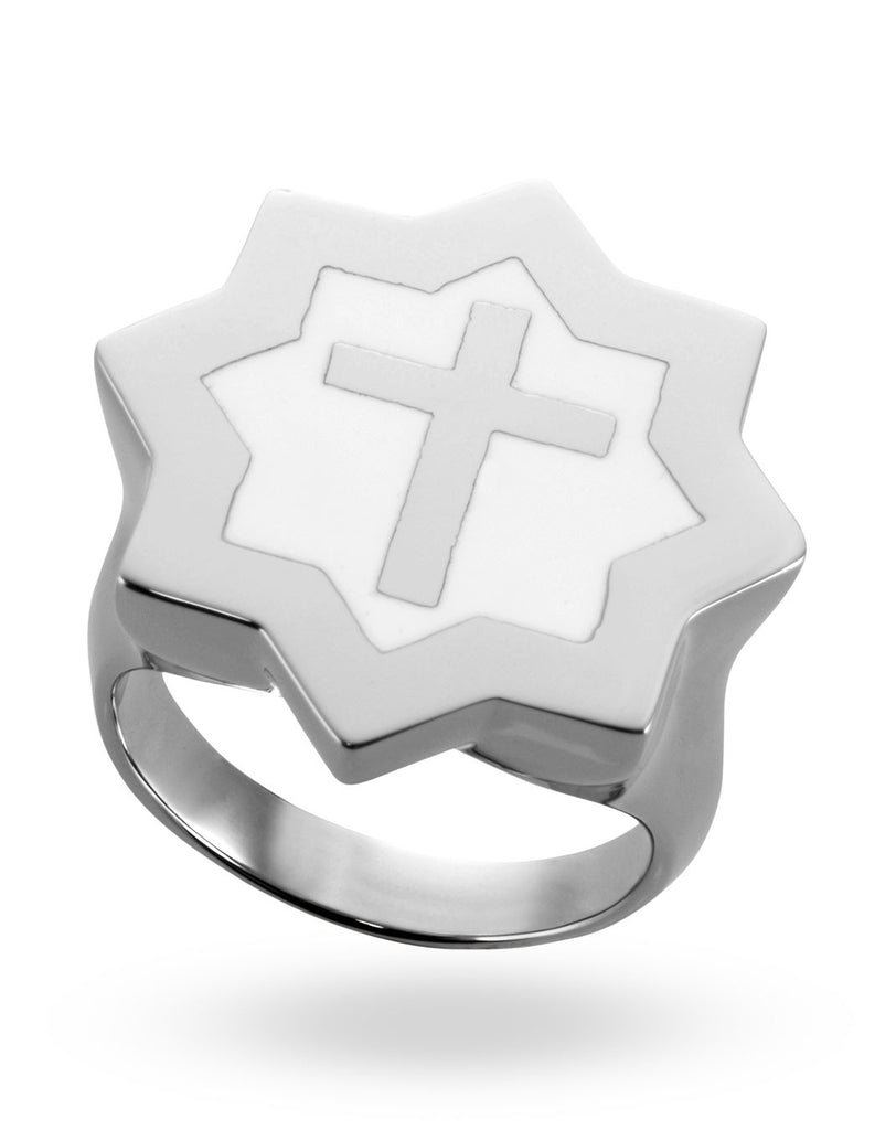Stainless Steel & White Abraham Cross Ring